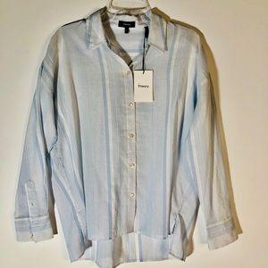 Theory Louran Blue Striped Button Down Shirt Sz P